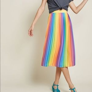 Rainbow Pleated ModCloth Midi Skirt